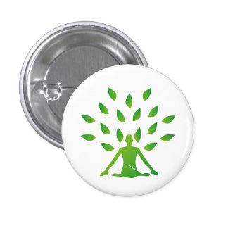 Person meditating under a tree button