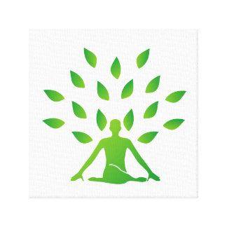 Person meditating under a tree canvas print