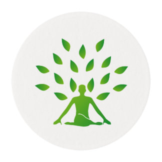 Person meditating under a tree edible frosting rounds