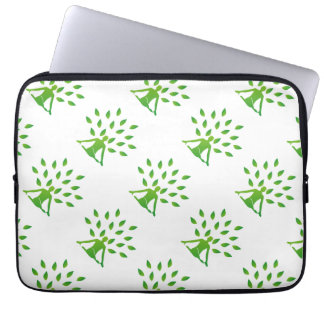 Person meditating under a tree laptop sleeve