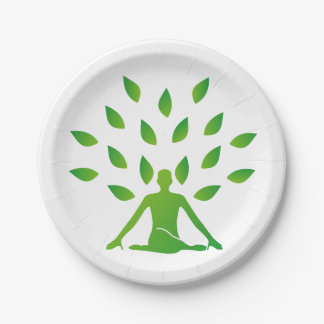 Person meditating under a tree paper plate