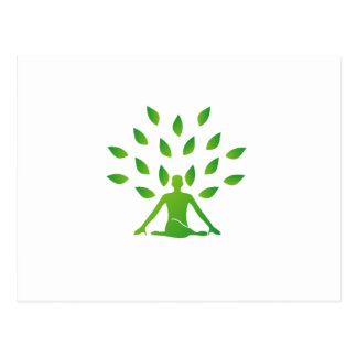 Person meditating under a tree postcard