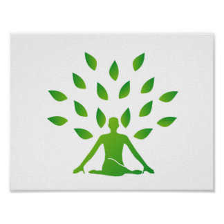 Person meditating under a tree poster