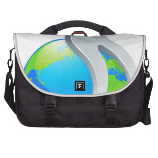 Person on top of world concept commuter bag