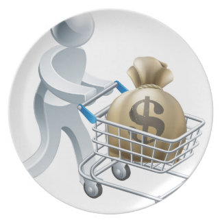Person pushing trolley with money dinner plate