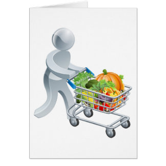 Person pushing trolley with vegetables greeting card
