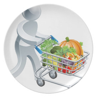 Person pushing trolley with vegetables plates