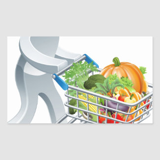 Person pushing trolley with vegetables rectangular stickers