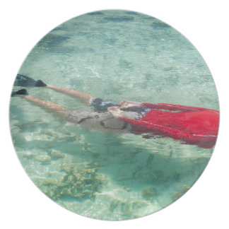 Person snorkeling in clear water plates