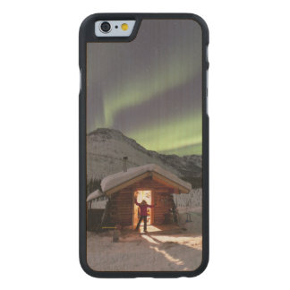 Person stands in doorway of Caribou Bluff cabin 2 Carved Maple iPhone 6 Case