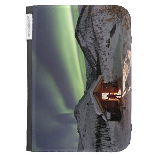 Person stands in doorway of Caribou Bluff cabin 2 Kindle Folio Cases