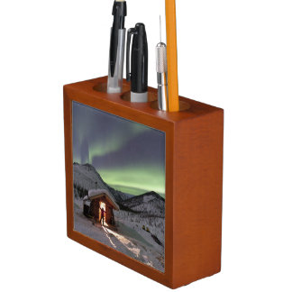 Person stands in doorway of Caribou Bluff cabin 2 Pencil Holder