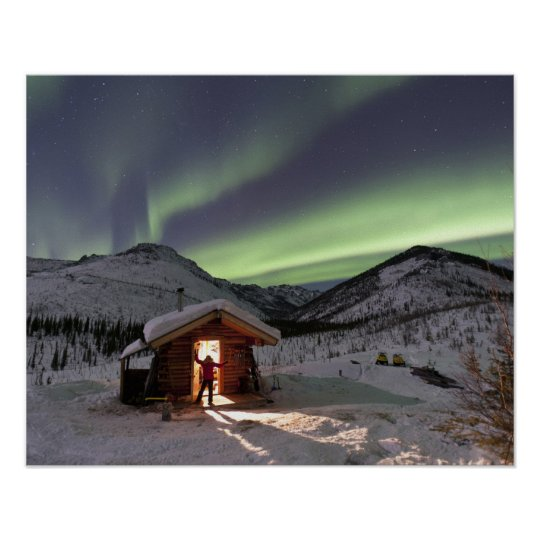Person stands in doorway of Caribou Bluff cabin 2 Poster