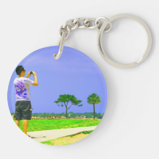Person taking pic st augustine Double-Sided round acrylic keychain