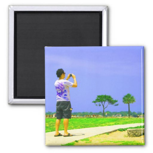 Person taking pic st augustine 2 inch square magnet