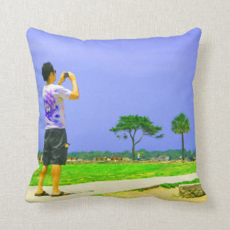 Person taking pic st augustine pillow
