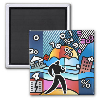 Person walking with numbers falling on umbrella 2 inch square magnet