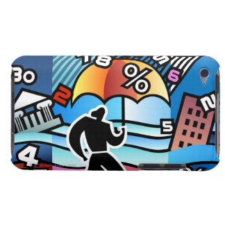 Person walking with numbers falling on umbrella barely there iPod covers