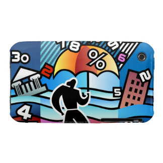 Person walking with numbers falling on umbrella iPhone 3 cover