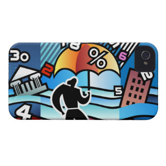Person walking with numbers falling on umbrella iPhone 4 cover