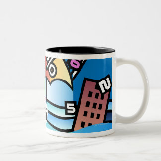Person walking with numbers falling on umbrella Two-Tone coffee mug