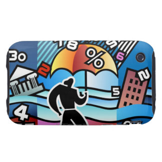 Person walking with numbers falling on umbrella tough iPhone 3 case