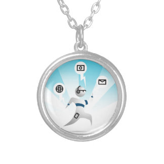 Person with Wearable Technology Round Pendant Necklace