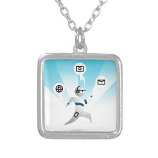 Person with Wearable Technology Square Pendant Necklace