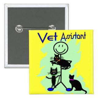 Persona auxiliar del palillo del veterinario con l pin cuadrado