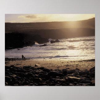 persona con el niño que camina en la playa rocosa póster