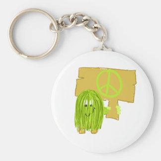 Persona de la paz del verde verde oliva llavero redondo tipo pin