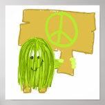 Persona de la paz del verde verde oliva poster