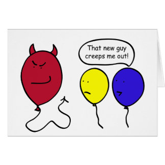 Persona del globo del diablo felicitacion
