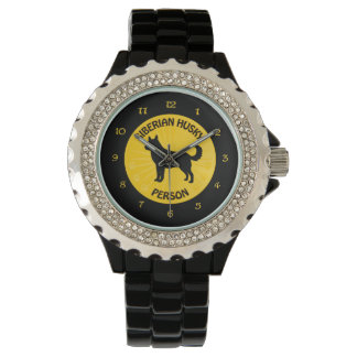 Persona del husky siberiano reloj de mano