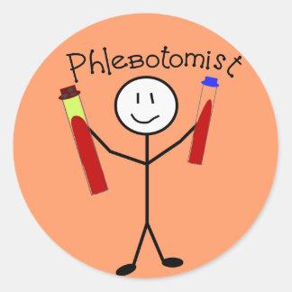 Persona del palillo de Phlebotomist Pegatina Redonda