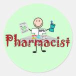 Persona del palillo del farmacéutico--Regalos Pegatinas Redondas