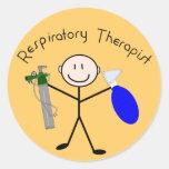 Persona del palillo del terapeuta respiratorio pegatinas redondas