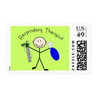 Persona del palillo del terapeuta respiratorio timbres postales