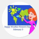 Persona del tiempo día 5 de febrero pegatina redonda