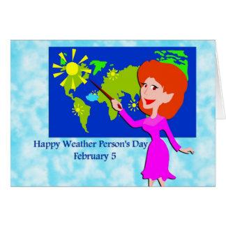 Persona del tiempo día 5 de febrero tarjeta de felicitación