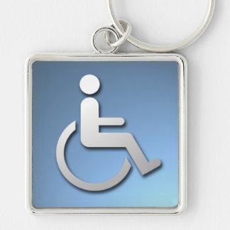 Persona discapacitada llavero cuadrado plateado