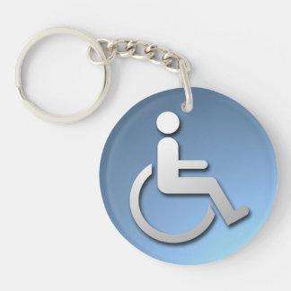 Persona discapacitada llavero redondo acrílico a doble cara