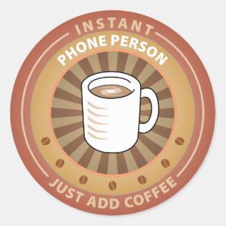 Persona inmediata del teléfono etiqueta redonda