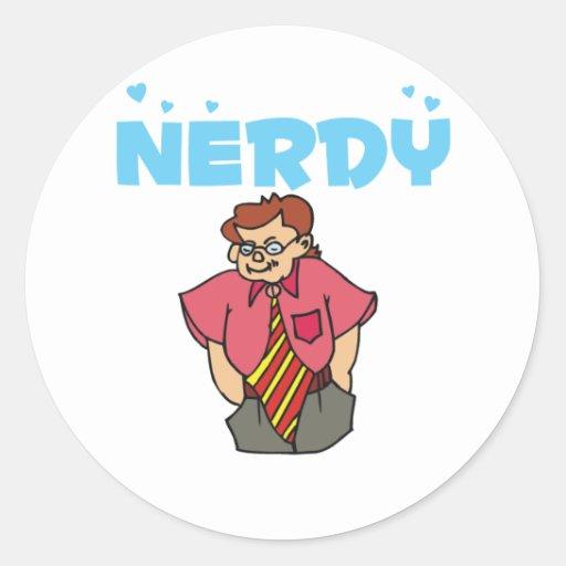 Persona Nerdy con el lazo colorido grande Pegatina Redonda