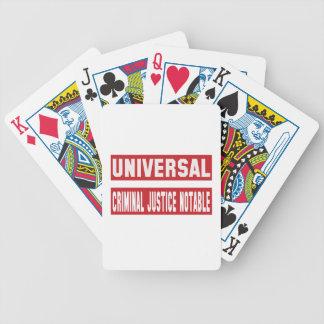 Persona notable universal de la justicia penal baraja de cartas bicycle