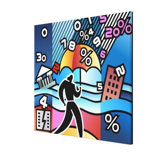 Persona que camina con los números que bajan en el lona estirada galerias