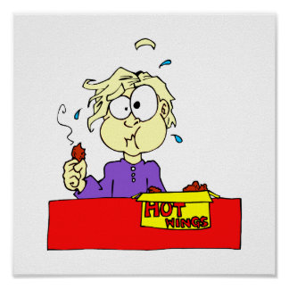 Persona que come el dibujo animado caliente de las póster
