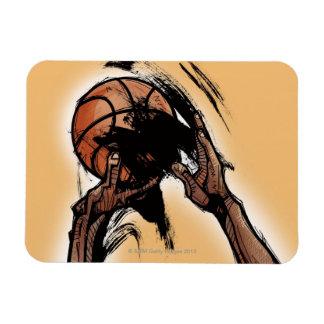 Persona que lleva a cabo baloncesto imanes rectangulares