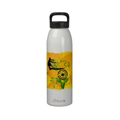 Persona que practica surf abstracta anaranjada botellas de agua reutilizables