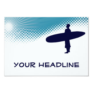 persona que practica surf altísima invitación 8,9 x 12,7 cm